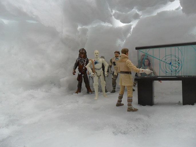 breefing base echo, avec chewbacca,han et troupe rebels
